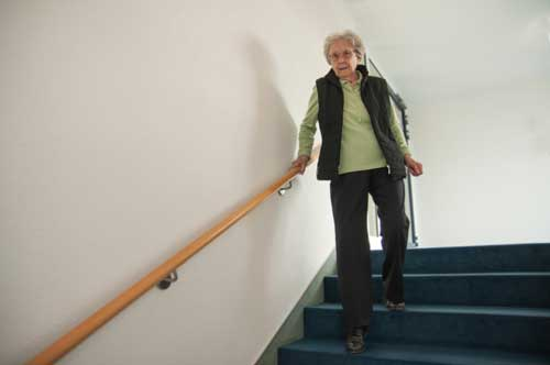 old lady going down stairs